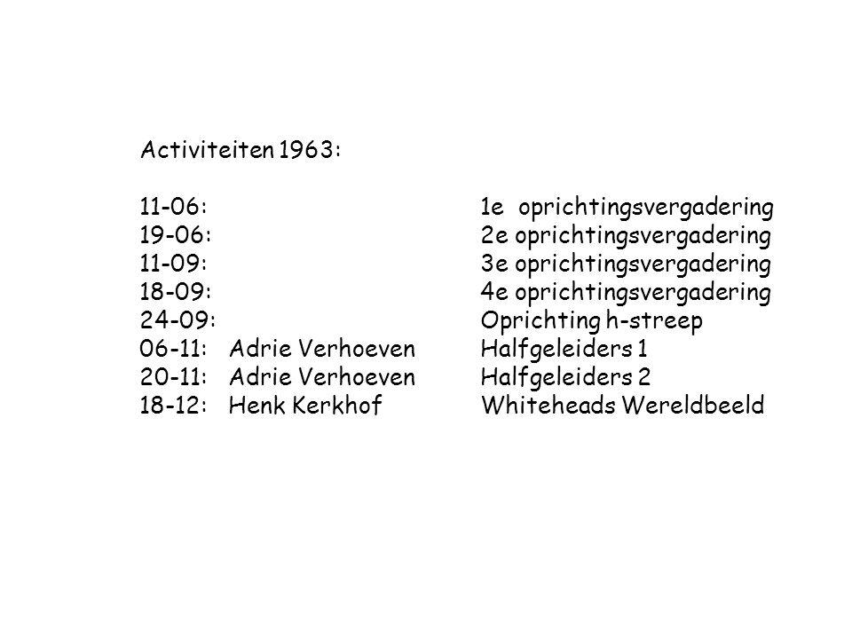 Activiteiten 1963: 11-06:1e oprichtingsvergadering 19-06: 2e oprichtingsvergadering 11-09: 3e oprichtingsvergadering 18-09: 4e oprichtingsvergadering