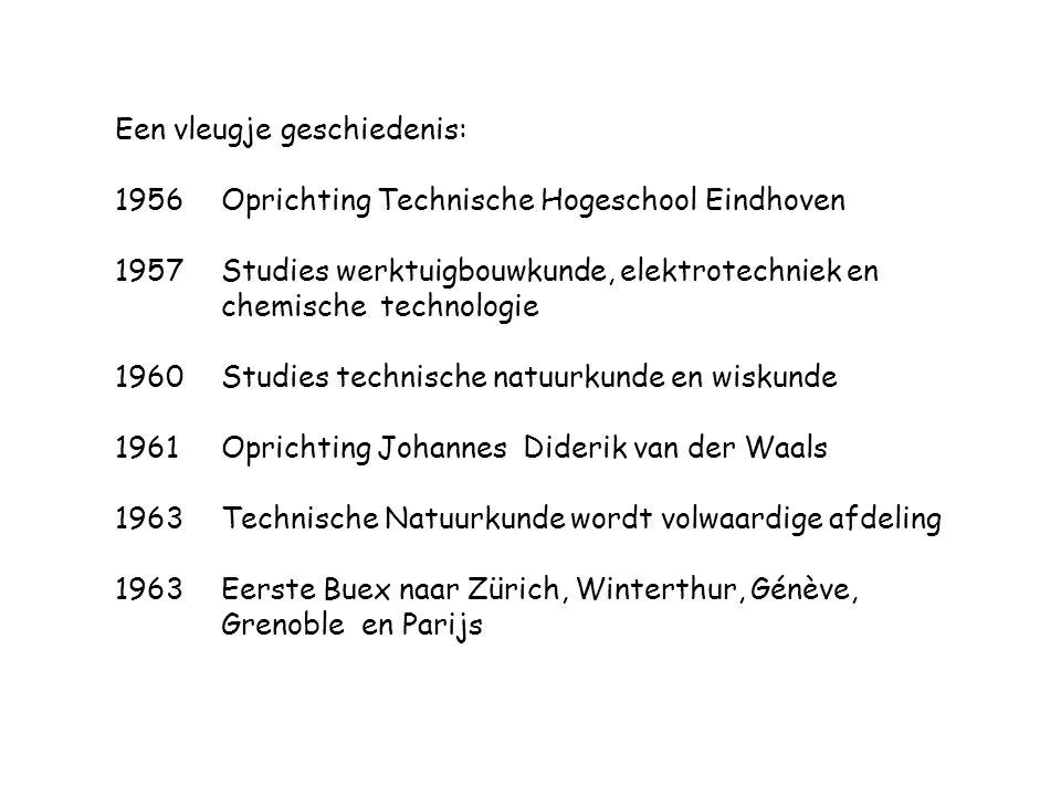 Een vleugje geschiedenis: 1956Oprichting Technische Hogeschool Eindhoven 1957 Studies werktuigbouwkunde, elektrotechniek en chemische technologie 1960