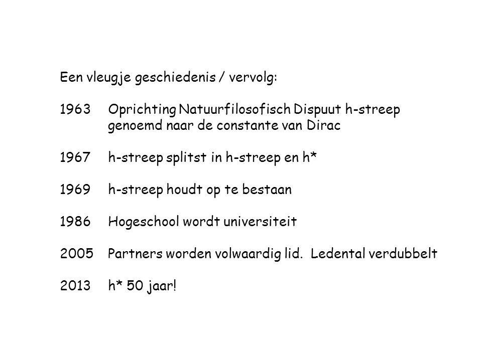 Een vleugje geschiedenis / vervolg: 1963Oprichting Natuurfilosofisch Dispuut h-streep genoemd naar de constante van Dirac 1967 h-streep splitst in h-s