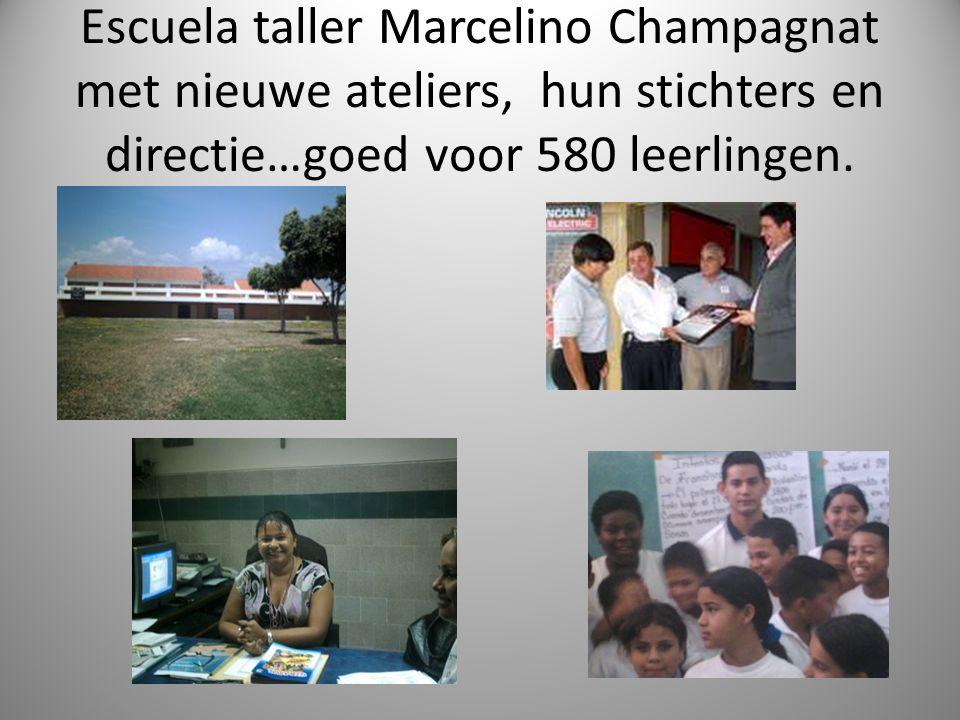 Escuela taller Marcelino Champagnat met nieuwe ateliers, hun stichters en directie…goed voor 580 leerlingen.