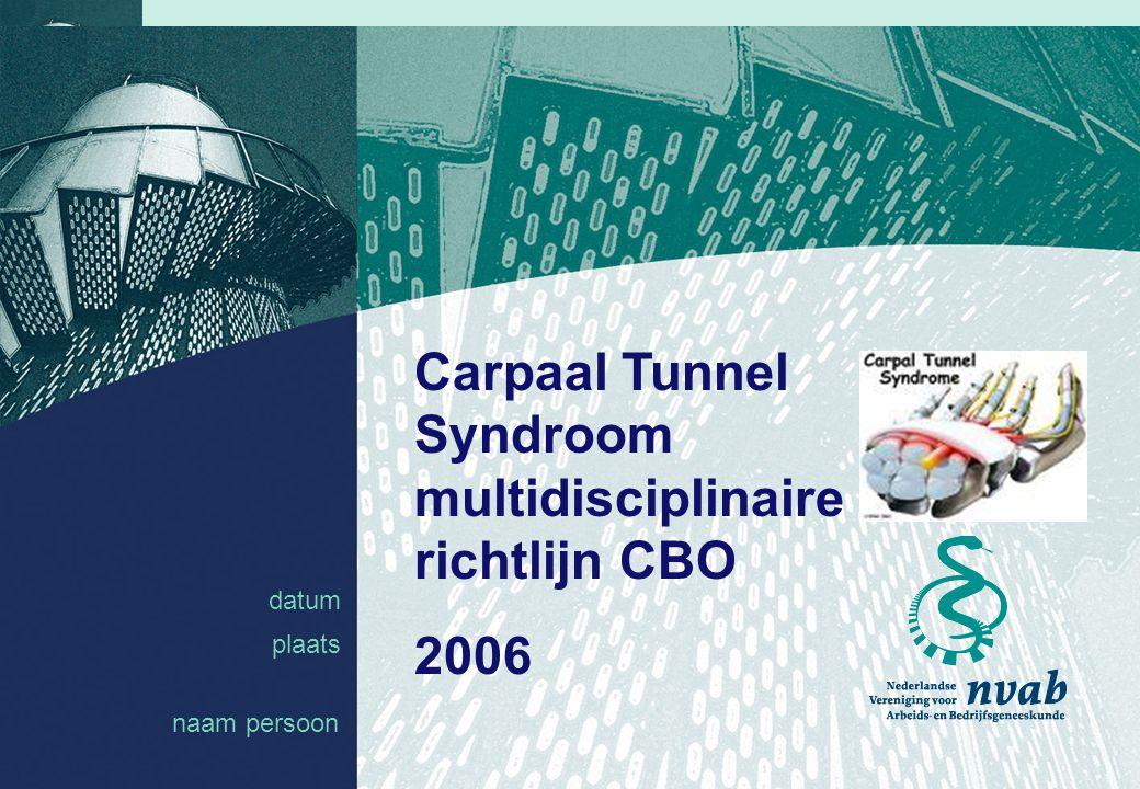 datum naam 1 datum plaats Carpaal Tunnel Syndroom multidisciplinaire richtlijn CBO 2006 naam persoon