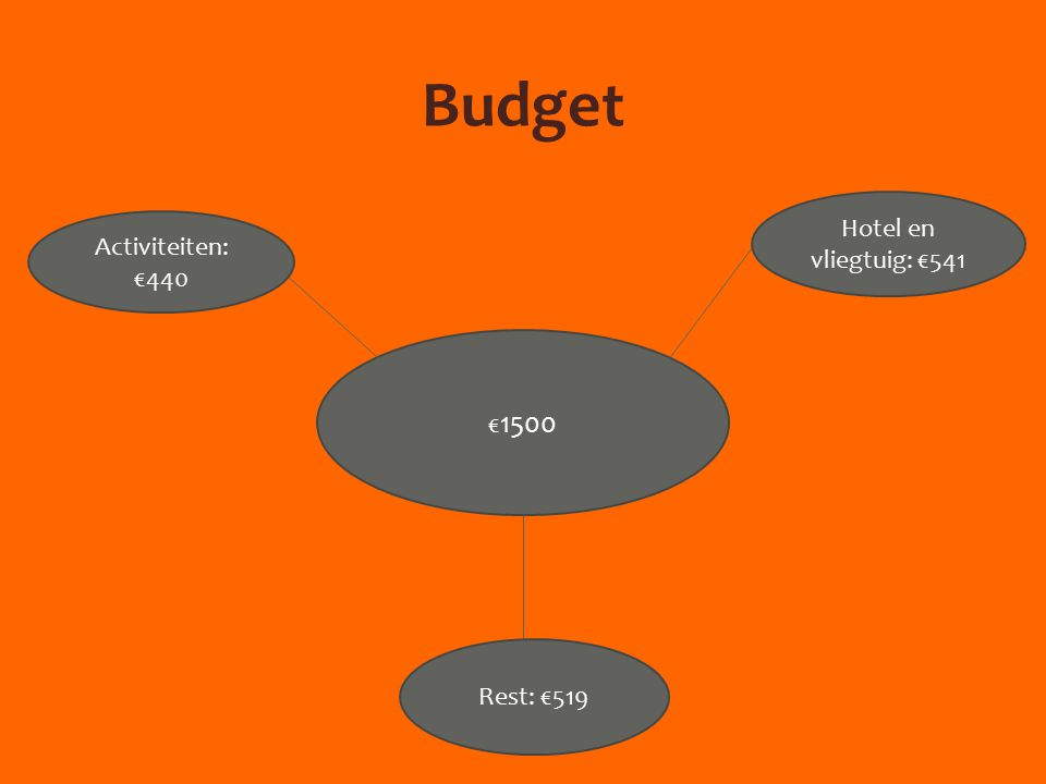 Budget € 1500 Hotel en vliegtuig: €541 Rest: €519 Activiteiten: €440