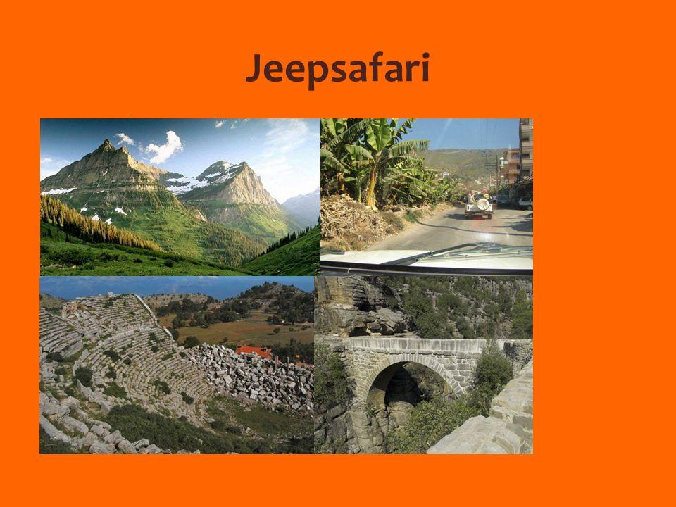 Jeepsafari Bezoek Taurusgebergte  Prachtige natuur  Indrukwekkende uitzichten Lunch Bezoek Selge  Cultuurhistorisch dorpje  Antieke overblijfselen: Theater, stadsmuren…