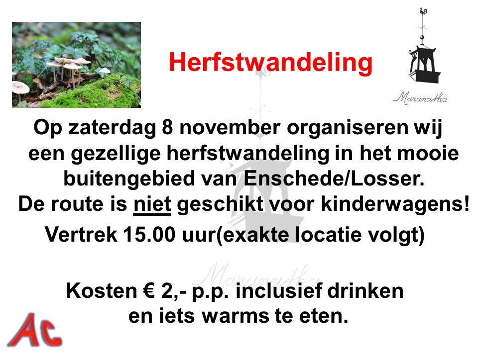Op zaterdag 8 november organiseren wij een gezellige herfstwandeling in het mooie buitengebied van Enschede/Losser. De route is niet geschikt voor kin