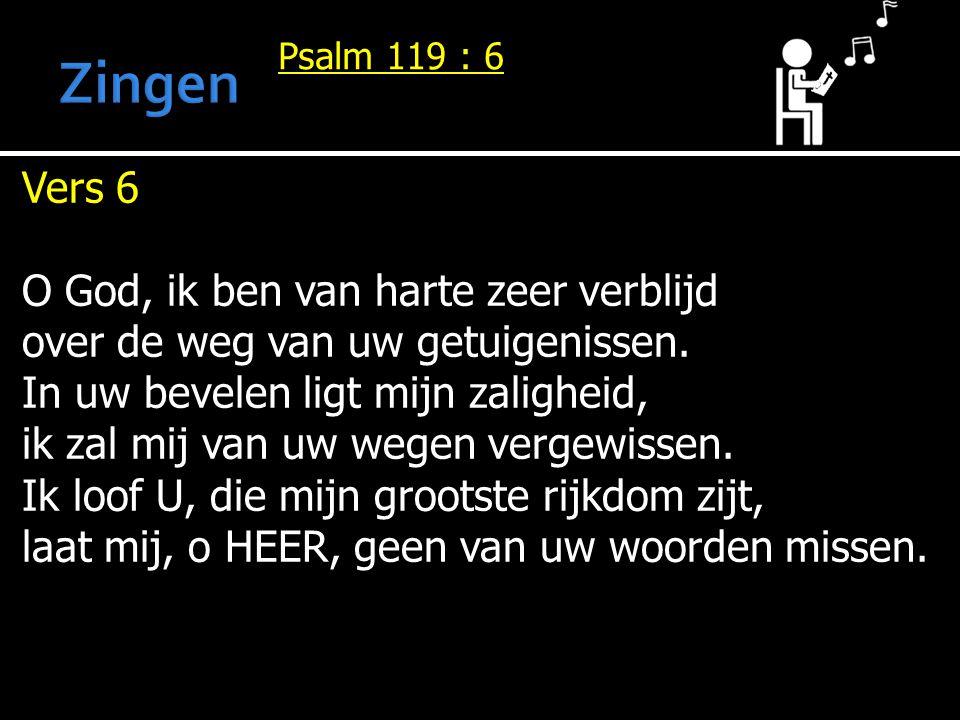 Psalm 119 : 6 Vers 6 O God, ik ben van harte zeer verblijd over de weg van uw getuigenissen. In uw bevelen ligt mijn zaligheid, ik zal mij van uw wege