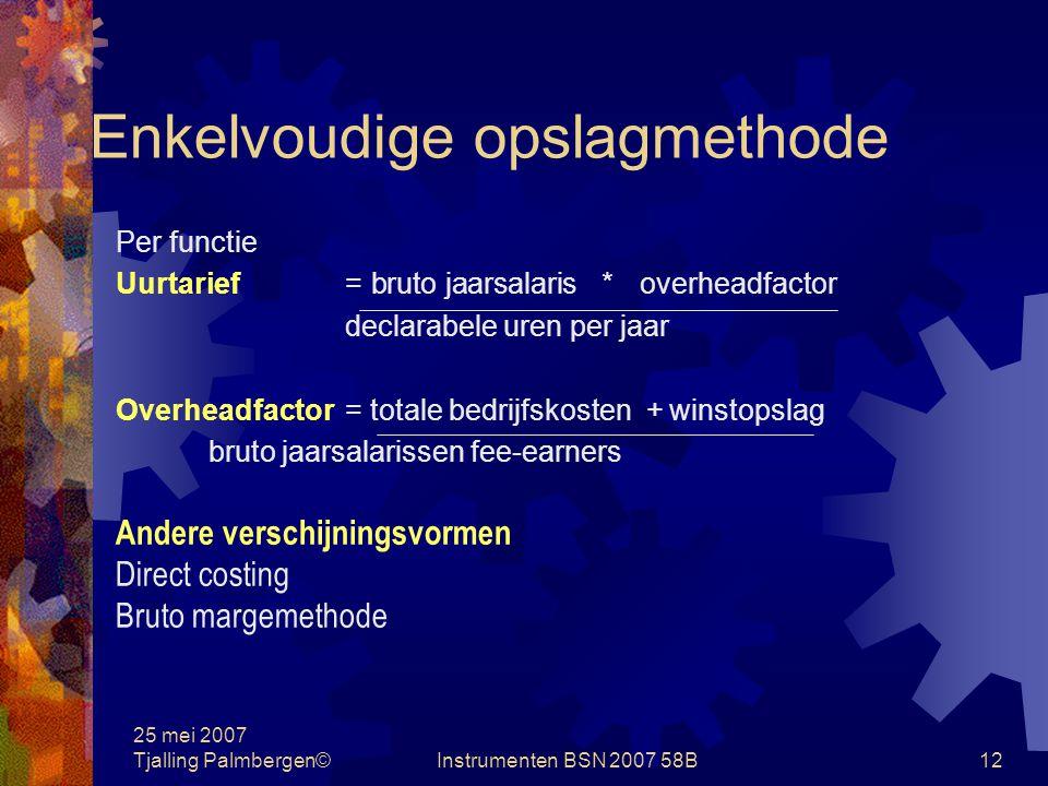 25 mei 2007 Tjalling Palmbergen©Instrumenten BSN 2007 58B11 Kostprijsbepaling Systemen: Enkelvoudige opslagmethode Meervoudige opslagmethode Kostenplaatsmethode