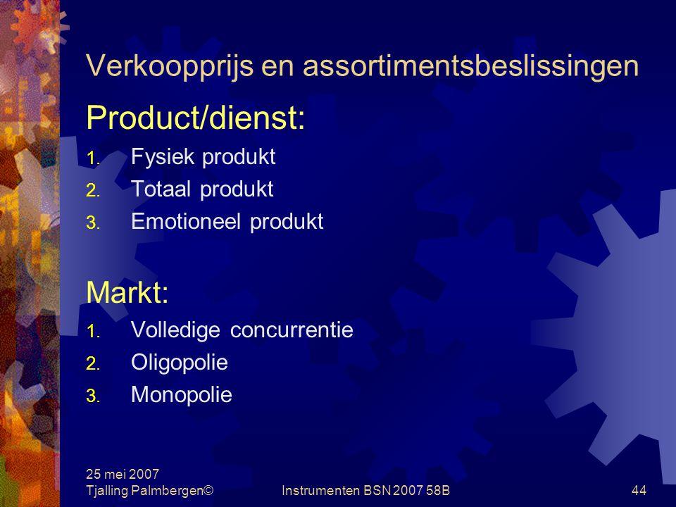 25 mei 2007 Tjalling Palmbergen©Instrumenten BSN 2007 58B43 Verkoopprijs en assortimentsbeslissingen