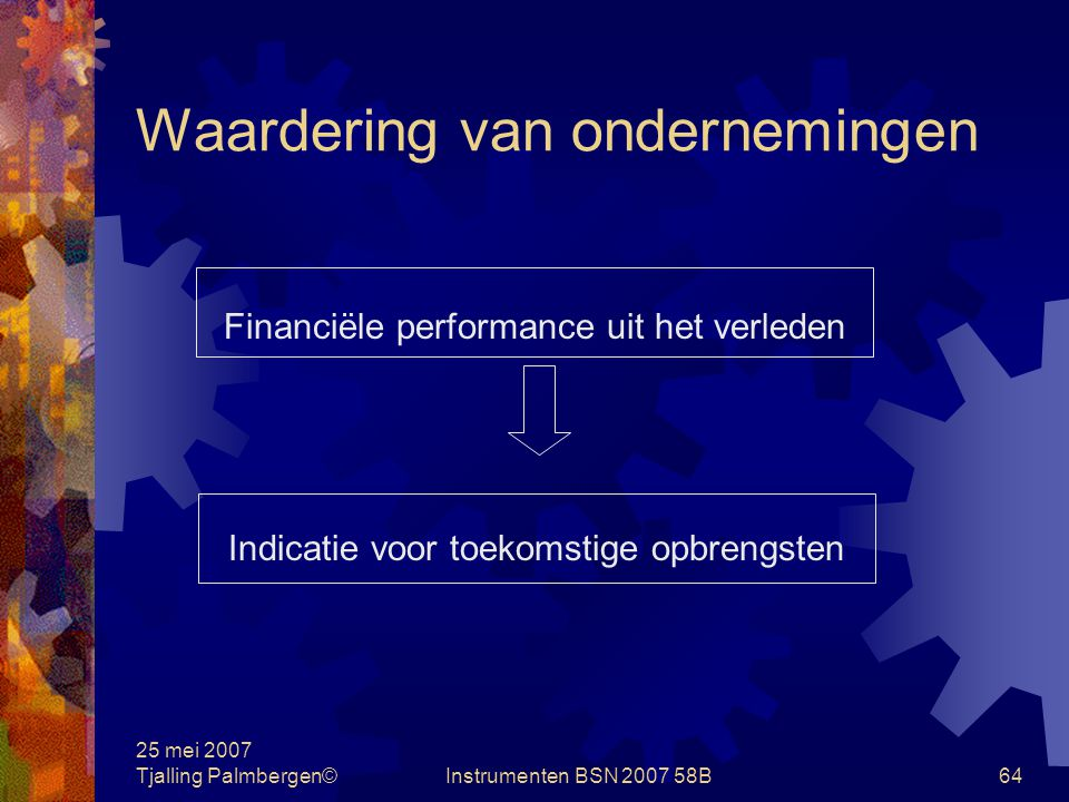 25 mei 2007 Tjalling Palmbergen©Instrumenten BSN 2007 58B63 Waardering van ondernemingen Netto last goodwill bij activa-transactie VerkoperKoper prijs154154 Vpb 35%5454----- inkomsten100kosten 100
