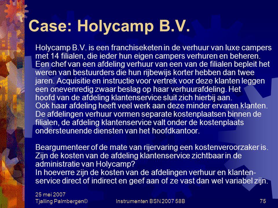 25 mei 2007 Tjalling Palmbergen©Instrumenten BSN 2007 58B74 Case: Boekwinkel Splinter a.Formuleer kort en bondig de strategie van Boekwinkel Splinter.