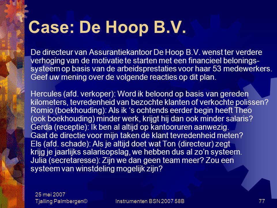 25 mei 2007 Tjalling Palmbergen©Instrumenten BSN 2007 58B76 Case: Adam Human Resource B.V.
