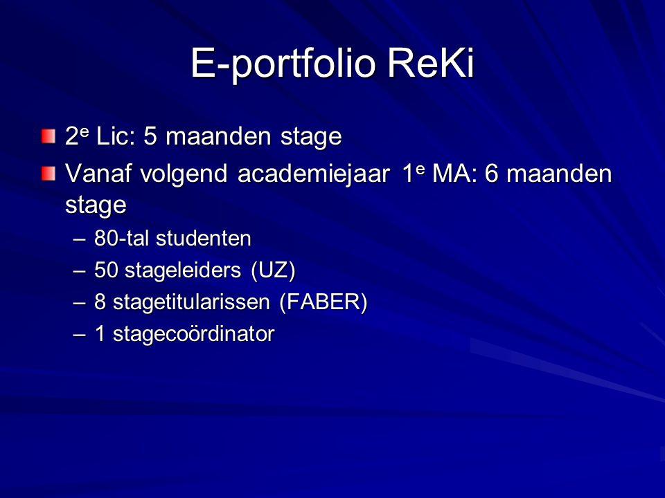 E-portfolio ReKi 2 e Lic: 5 maanden stage Vanaf volgend academiejaar 1 e MA: 6 maanden stage –80-tal studenten –50 stageleiders (UZ) –8 stagetitularissen (FABER) –1 stagecoördinator