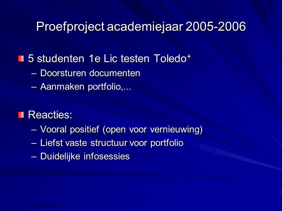 Proefproject academiejaar 2005-2006 5 studenten 1e Lic testen Toledo + –Doorsturen documenten –Aanmaken portfolio,...