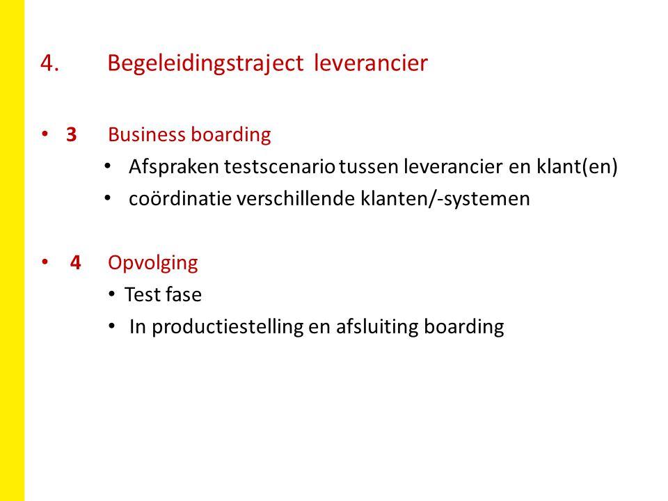 4. Begeleidingstraject leverancier 3Business boarding Afspraken testscenario tussen leverancier en klant(en) coördinatie verschillende klanten/-system
