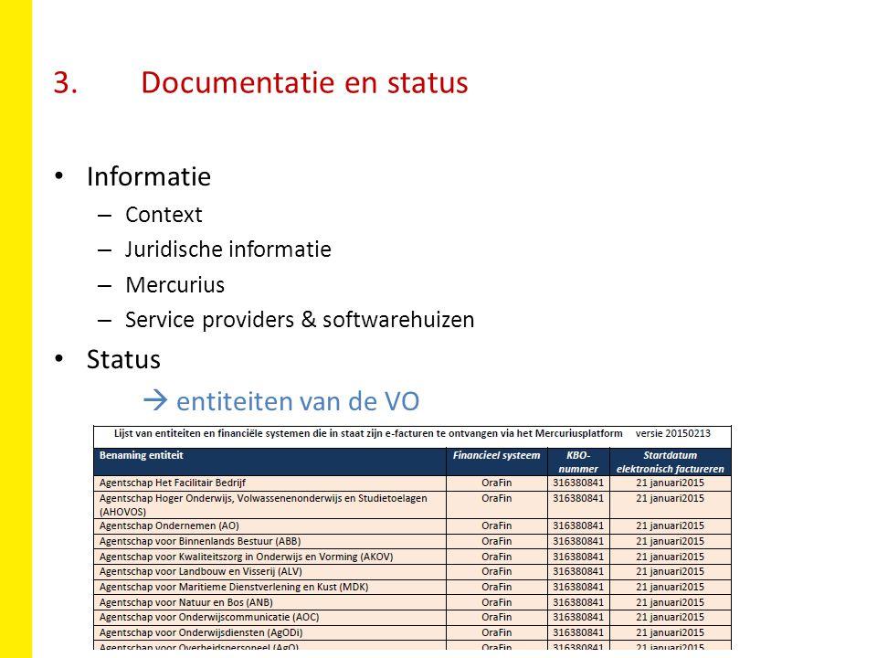 3. Documentatie en status Informatie – Context – Juridische informatie – Mercurius – Service providers & softwarehuizen Status  entiteiten van de VO