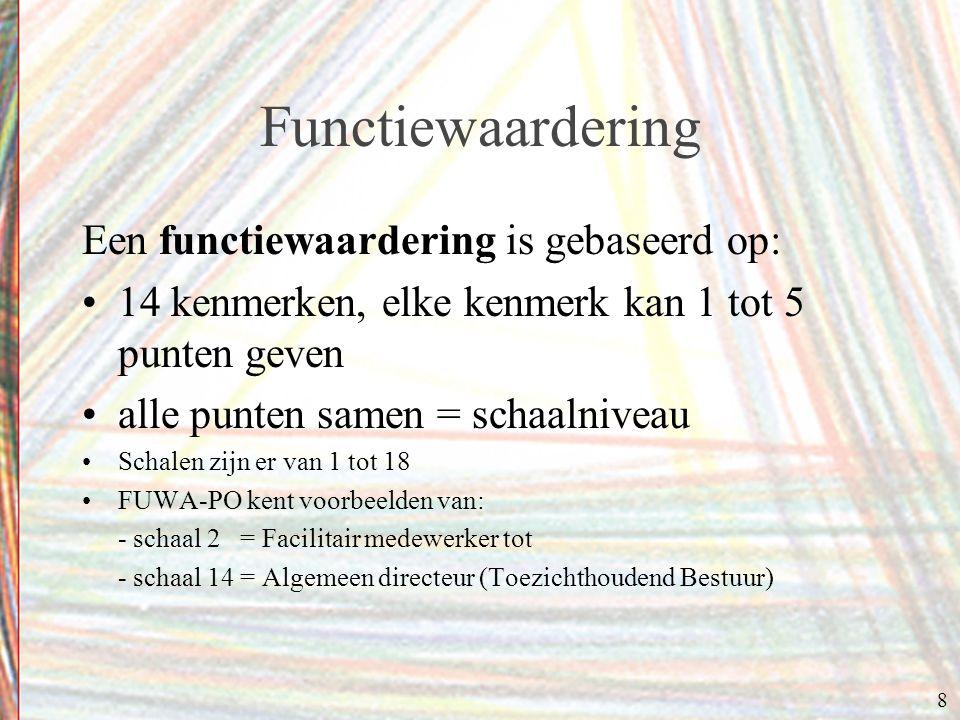 8 Functiewaardering Een functiewaardering is gebaseerd op: 14 kenmerken, elke kenmerk kan 1 tot 5 punten geven alle punten samen = schaalniveau Schale