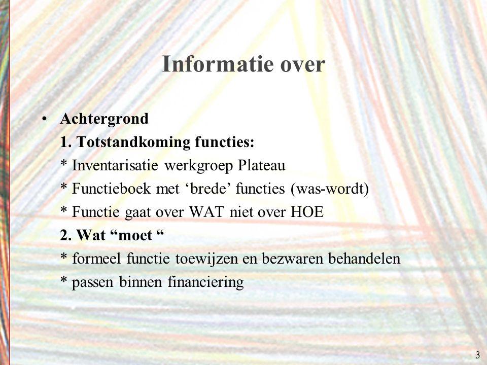 3 Informatie over Achtergrond 1. Totstandkoming functies: * Inventarisatie werkgroep Plateau * Functieboek met 'brede' functies (was-wordt) * Functie