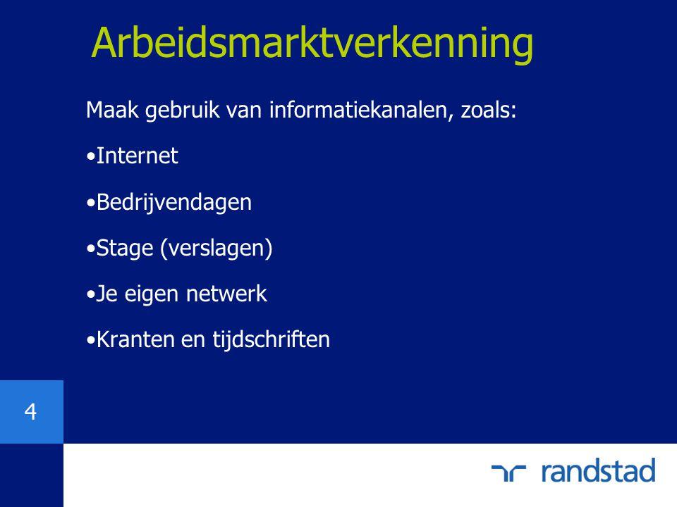 4 Arbeidsmarktverkenning Maak gebruik van informatiekanalen, zoals: Internet Bedrijvendagen Stage (verslagen) Je eigen netwerk Kranten en tijdschrifte