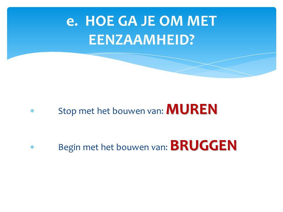 MUREN  Stop met het bouwen van: MUREN BRUGGEN  Begin met het bouwen van: BRUGGEN e. HOE GA JE OM MET EENZAAMHEID?