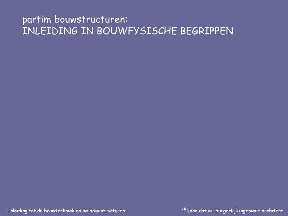 Inleiding tot de bouwtechniek en de bouwstructuren1° kandidatuur burgerlijk ingenieur-architect partim bouwstructuren: INLEIDING IN BOUWFYSISCHE BEGRIPPEN
