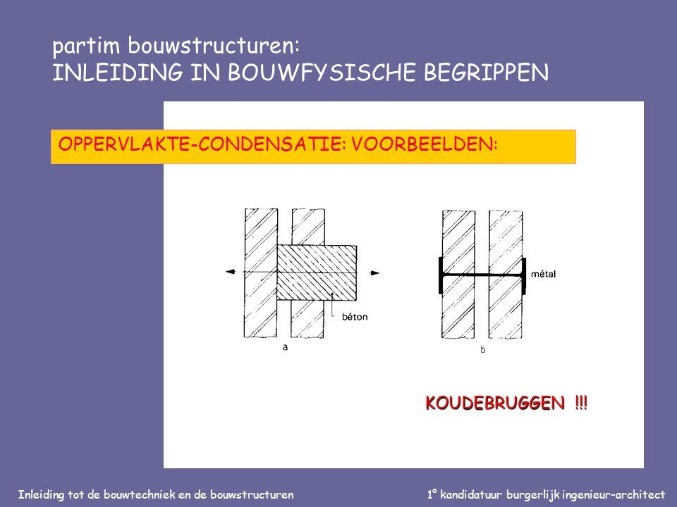 Inleiding tot de bouwtechniek en de bouwstructuren1° kandidatuur burgerlijk ingenieur-architect partim bouwstructuren: INLEIDING IN BOUWFYSISCHE BEGRIPPEN OPPERVLAKTE-CONDENSATIE: VOORBEELDEN: KOUDEBRUGGEN !!!