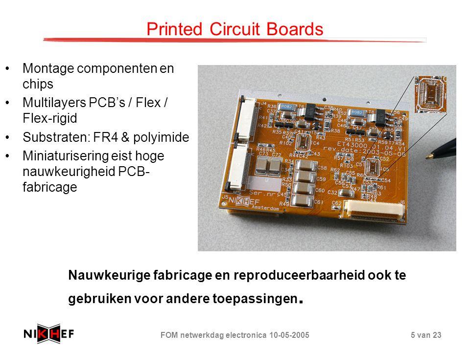 FOM netwerkdag electronica 10-05-20055 van 23 Printed Circuit Boards Montage componenten en chips Multilayers PCB's / Flex / Flex-rigid Substraten: FR4 & polyimide Miniaturisering eist hoge nauwkeurigheid PCB- fabricage Nauwkeurige fabricage en reproduceerbaarheid ook te gebruiken voor andere toepassingen.
