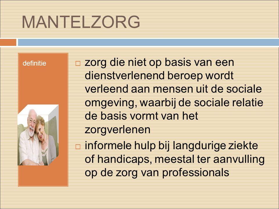MANTELZORG definitie  zorg die niet op basis van een dienstverlenend beroep wordt verleend aan mensen uit de sociale omgeving, waarbij de sociale rel