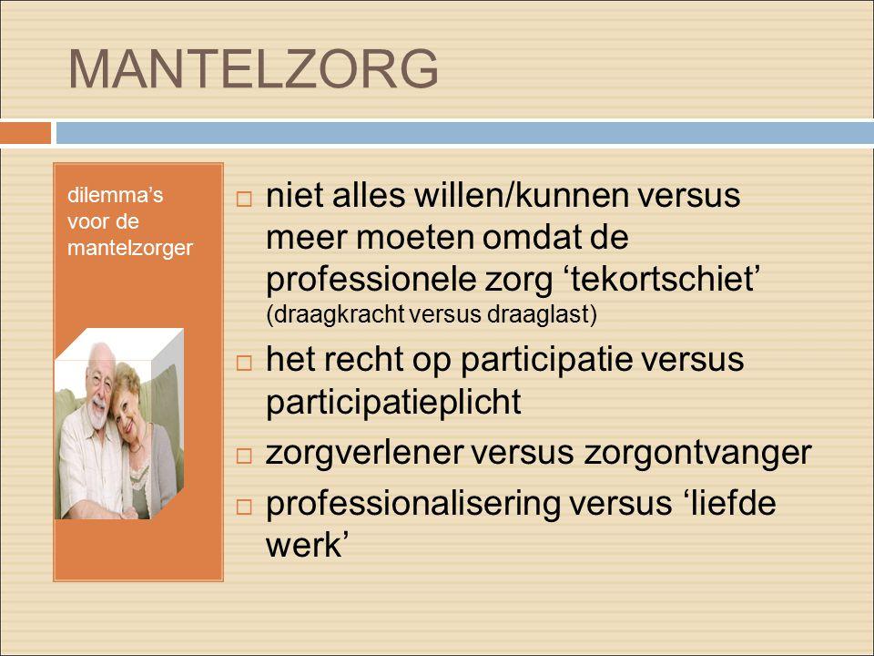 MANTELZORG dilemma's voor de mantelzorger  niet alles willen/kunnen versus meer moeten omdat de professionele zorg 'tekortschiet' (draagkracht versus