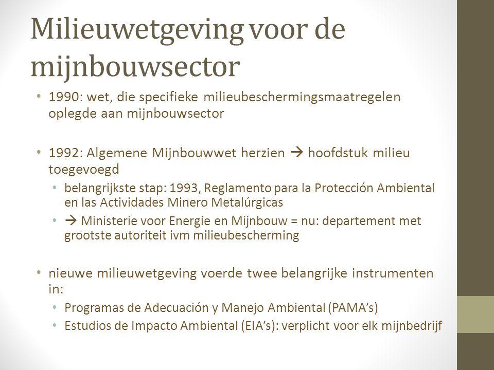 Milieuwetgeving voor de mijnbouwsector 2003: werking van de EIA's en de PAMA's geëvalueerd kritiek op: overheidsinstanties, betrokken bij controle mijnbouwsector  geen coördinatie tussen verschil.