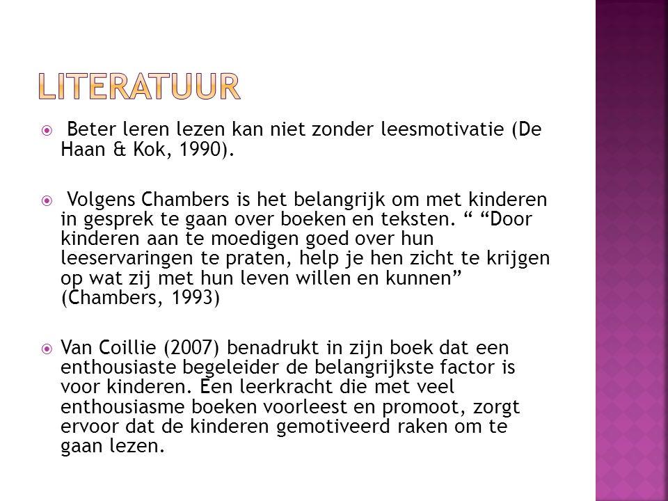  Beter leren lezen kan niet zonder leesmotivatie (De Haan & Kok, 1990).  Volgens Chambers is het belangrijk om met kinderen in gesprek te gaan over