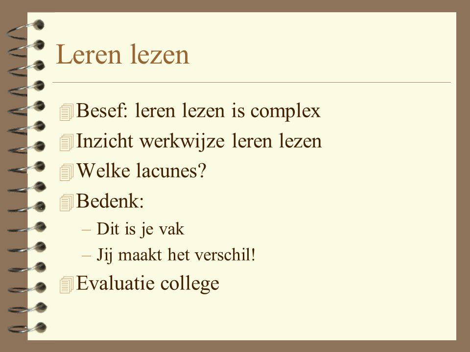 Leren lezen 4 Besef: leren lezen is complex 4 Inzicht werkwijze leren lezen 4 Welke lacunes? 4 Bedenk: –Dit is je vak –Jij maakt het verschil! 4 Evalu