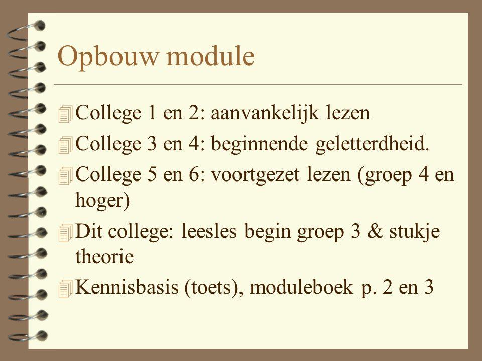 Opbouw module 4 College 1 en 2: aanvankelijk lezen 4 College 3 en 4: beginnende geletterdheid. 4 College 5 en 6: voortgezet lezen (groep 4 en hoger) 4