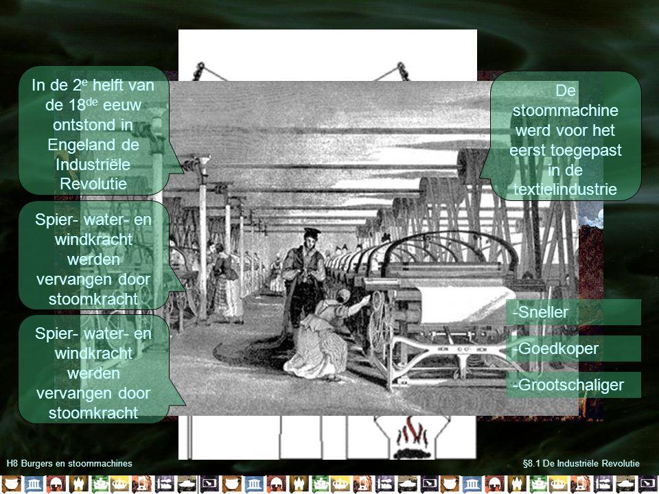 H8 Burgers en stoommachines§8.1 De Industriële Revolutie In de 2 e helft van de 18 de eeuw ontstond in Engeland de Industriële Revolutie Spier- water-