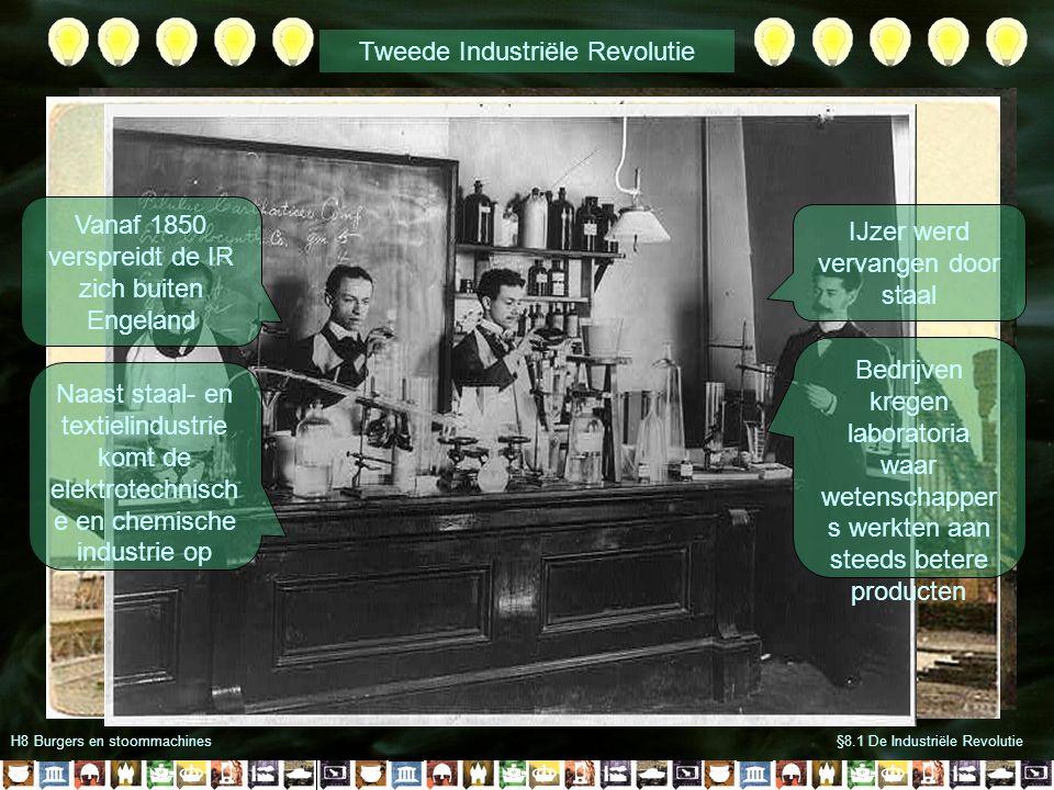 H8 Burgers en stoommachines§8.1 De Industriële Revolutie Vanaf 1850 verspreidt de IR zich buiten Engeland Naast staal- en textielindustrie komt de ele