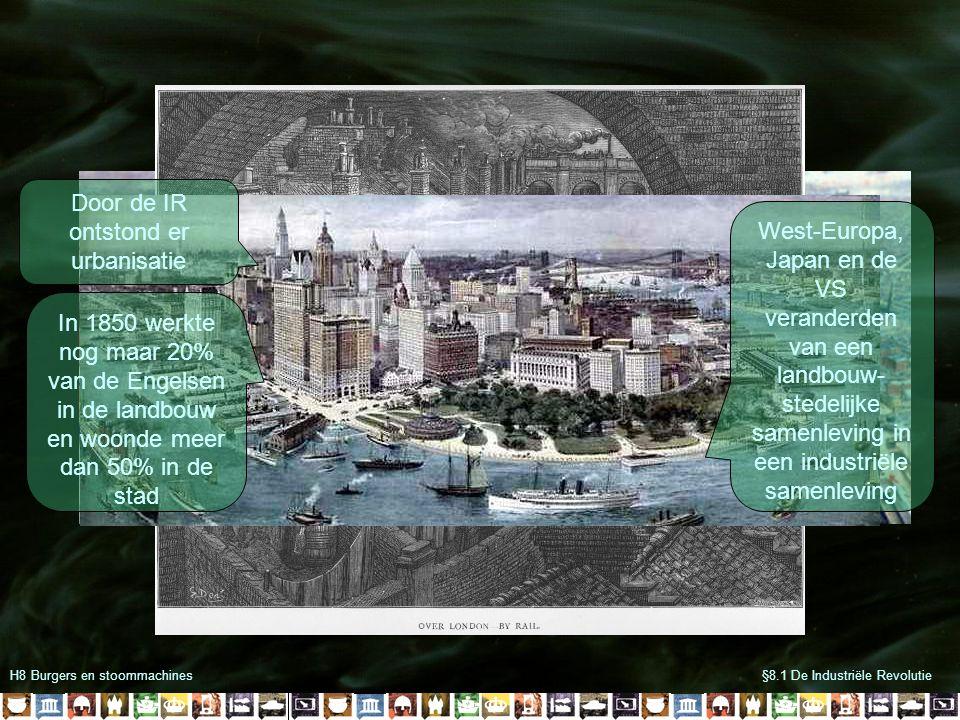 H8 Burgers en stoommachines§8.1 De Industriële Revolutie Door de IR ontstond er urbanisatie In 1850 werkte nog maar 20% van de Engelsen in de landbouw
