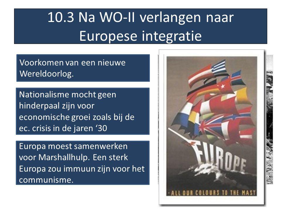 10.3 Na WO-II verlangen naar Europese integratie Voorkomen van een nieuwe Wereldoorlog. Nationalisme mocht geen hinderpaal zijn voor economische groei