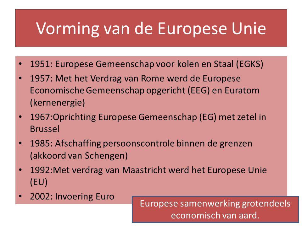 Vorming van de Europese Unie 1951: Europese Gemeenschap voor kolen en Staal (EGKS) 1957: Met het Verdrag van Rome werd de Europese Economische Gemeens