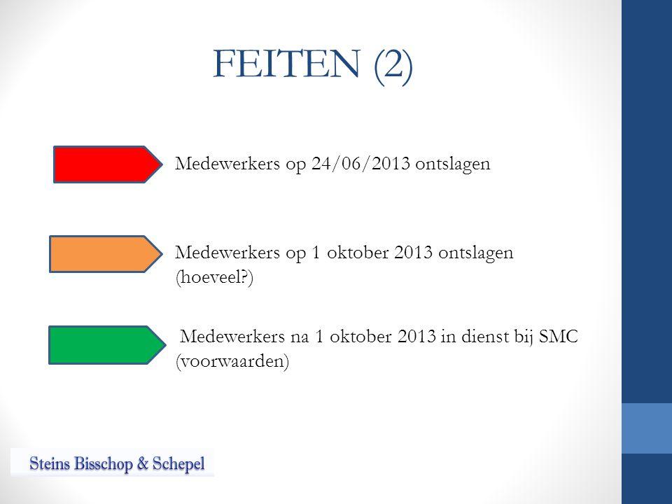 FEITEN (2) Medewerkers op 24/06/2013 ontslagen Medewerkers op 1 oktober 2013 ontslagen (hoeveel ) Medewerkers na 1 oktober 2013 in dienst bij SMC (voorwaarden)