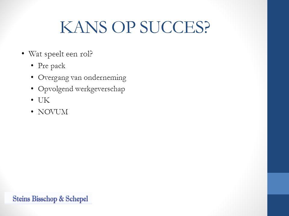 KANS OP SUCCES? Wat speelt een rol? Pre pack Overgang van onderneming Opvolgend werkgeverschap UK NOVUM