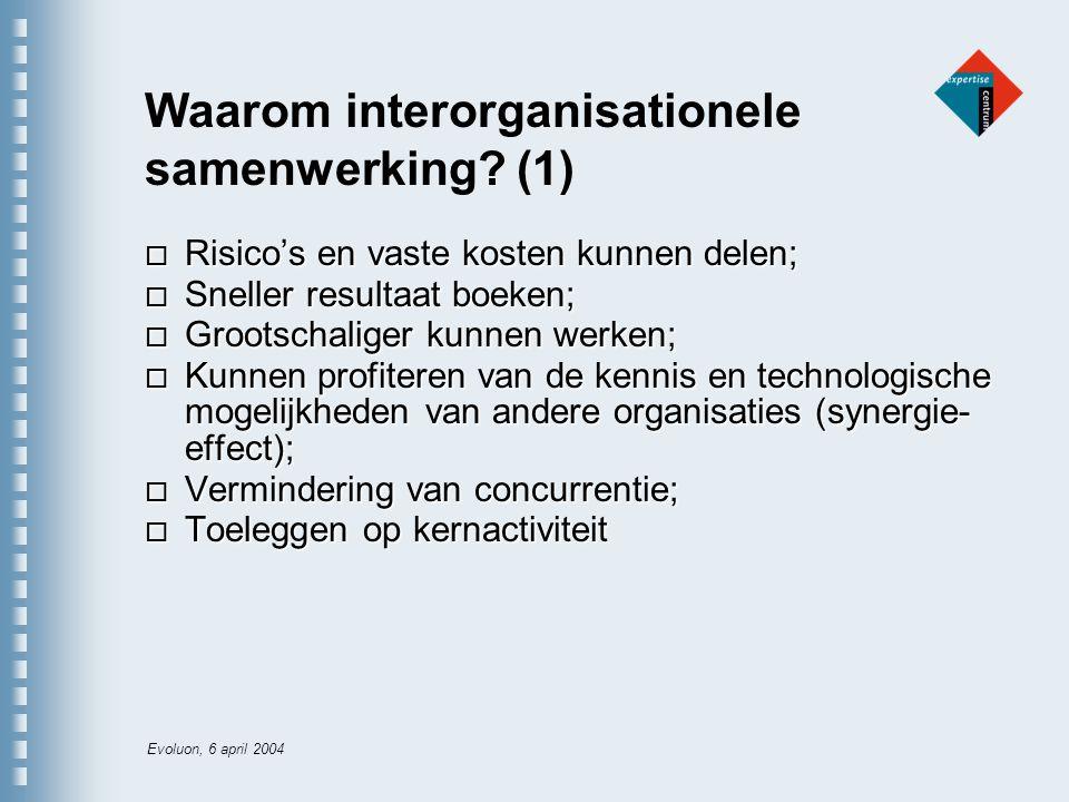 Evoluon, 6 april 2004 Waarom interorganisationele samenwerking.