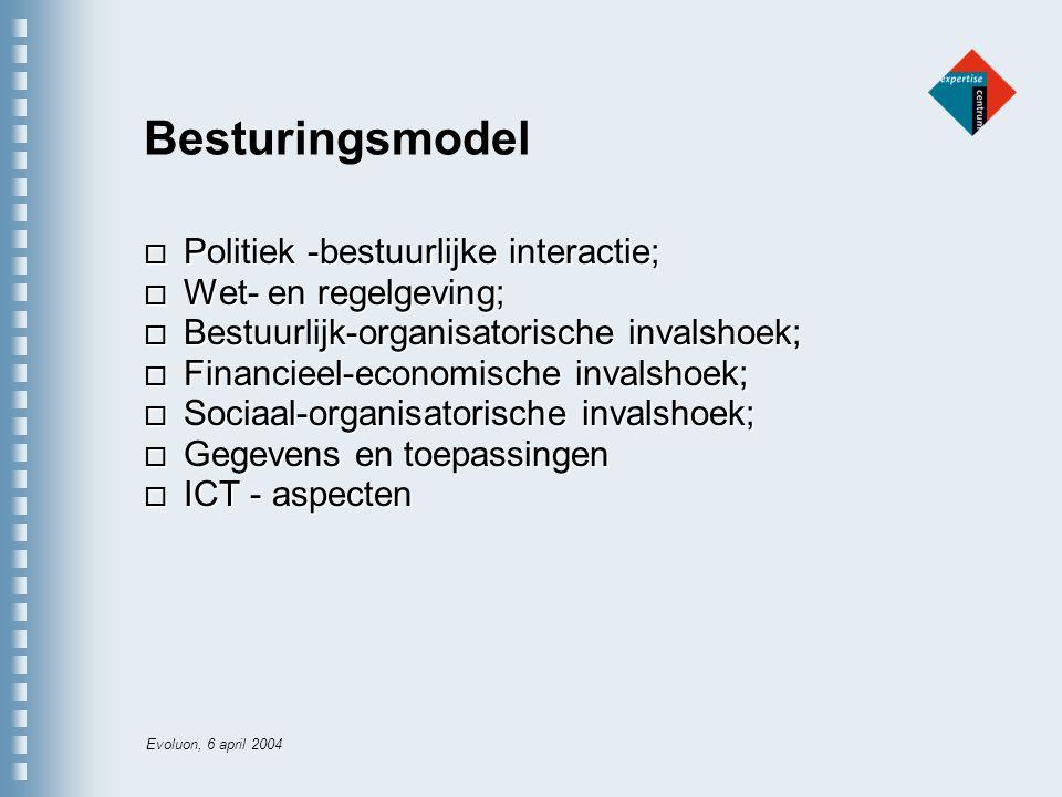 Evoluon, 6 april 2004 Besturingsmodel o Politiek -bestuurlijke interactie; o Wet- en regelgeving; o Bestuurlijk-organisatorische invalshoek; o Financieel-economische invalshoek; o Sociaal-organisatorische invalshoek; o Gegevens en toepassingen o ICT - aspecten