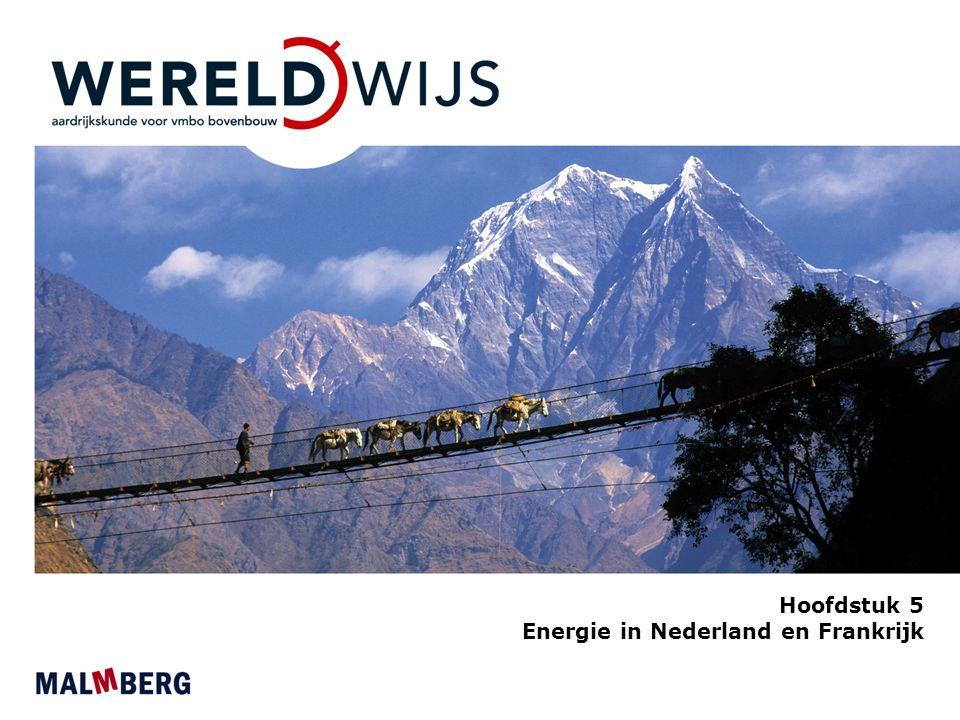 Paragraaf 1 Bronnen van energie in Nederland en Frankrijk Nederland aardgasland Veel aardgas in Nederlandse bodem Grootste gasconsument en gasproducent van de EU Relatief schoon - weinig roet of as - minder CO 2 (broeikasgas) dan steenkool of aardolie