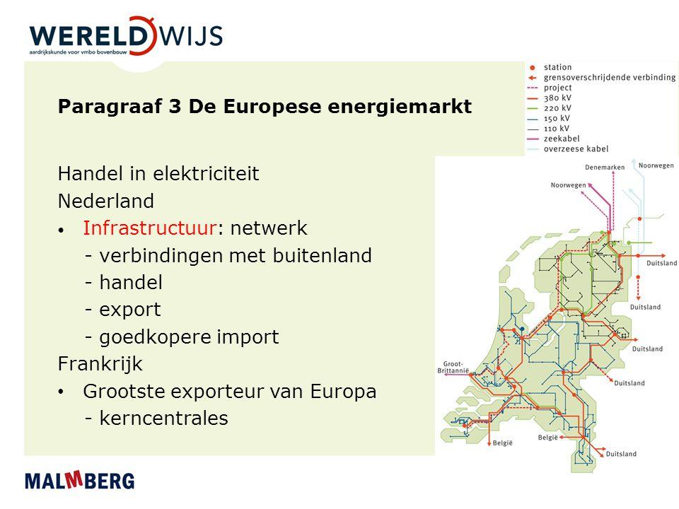 Paragraaf 3 De Europese energiemarkt Handel in elektriciteit Nederland Infrastructuur: netwerk - verbindingen met buitenland - handel - export - goedk