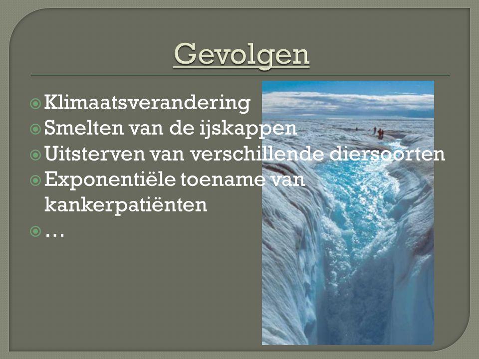  Klimaatsverandering  Smelten van de ijskappen  Uitsterven van verschillende diersoorten  Exponentiële toename van kankerpatiënten ……