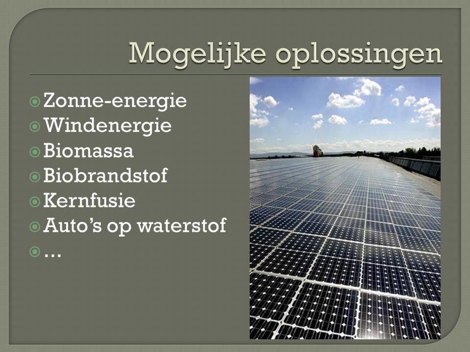  Zonne-energie  Windenergie  Biomassa  Biobrandstof  Kernfusie  Auto's op waterstof ...