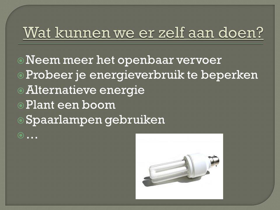  Neem meer het openbaar vervoer  Probeer je energieverbruik te beperken  Alternatieve energie  Plant een boom  Spaarlampen gebruiken ……