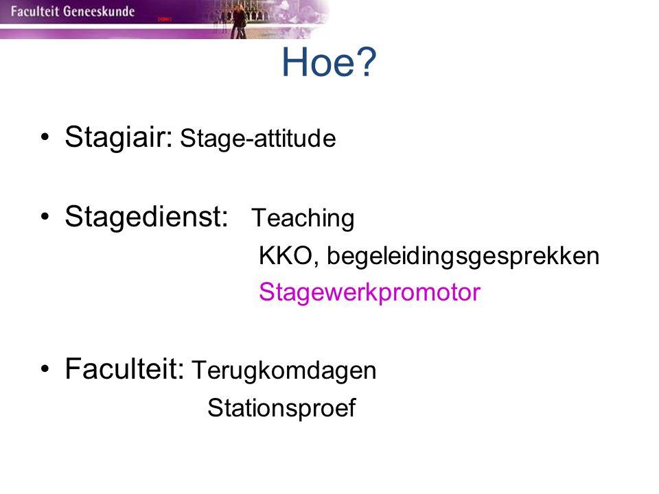 Hoe? Stagiair: Stage-attitude Stagedienst: Teaching KKO, begeleidingsgesprekken Stagewerkpromotor Faculteit: Terugkomdagen Stationsproef