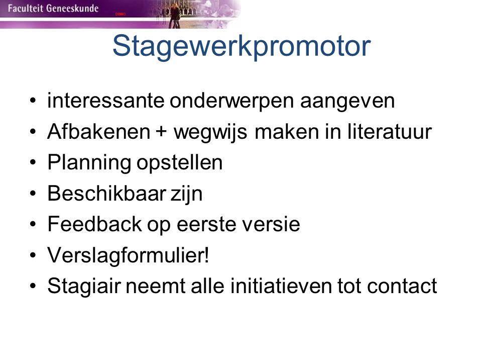 Stagewerkpromotor interessante onderwerpen aangeven Afbakenen + wegwijs maken in literatuur Planning opstellen Beschikbaar zijn Feedback op eerste ver