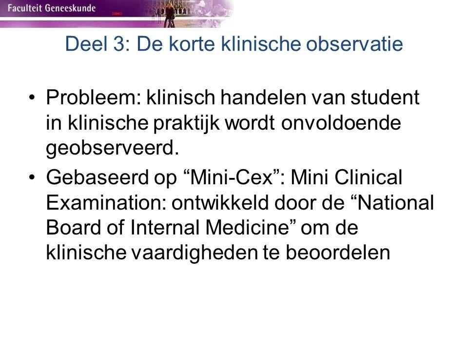 """Probleem: klinisch handelen van student in klinische praktijk wordt onvoldoende geobserveerd. Gebaseerd op """"Mini-Cex"""": Mini Clinical Examination: ontw"""