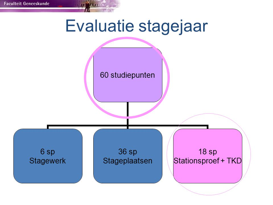 Evaluatie stagejaar 60 studiepunten 6 sp Stagewerk 36 sp Stageplaatsen 18 sp Stationsproef + TKD