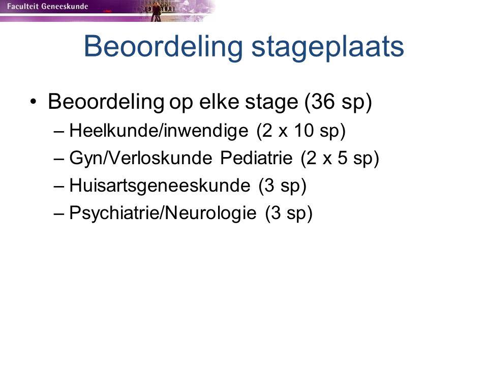 Beoordeling stageplaats Beoordeling op elke stage (36 sp) –Heelkunde/inwendige (2 x 10 sp) –Gyn/Verloskunde Pediatrie (2 x 5 sp) –Huisartsgeneeskunde
